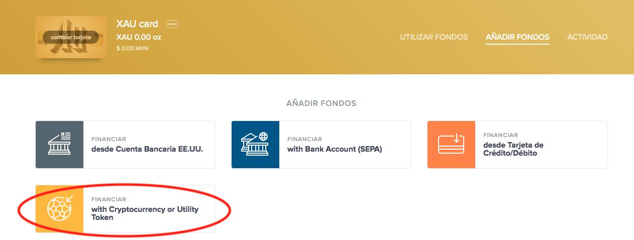 Cómo fondear una XAU Card en Uphold, eligiendo la opción de criptomonedas o utility tokens