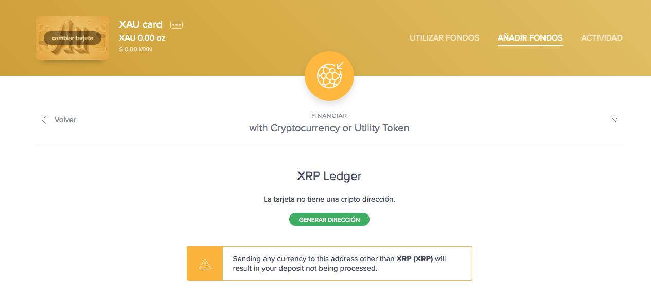 Generar dirección de XRP en la XAU Card de Uphold