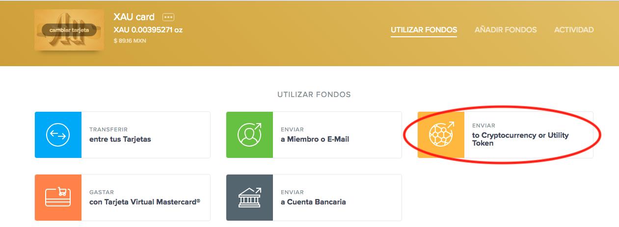 Selección de envío de XAU en Uphold convertido en criptomoneda o token