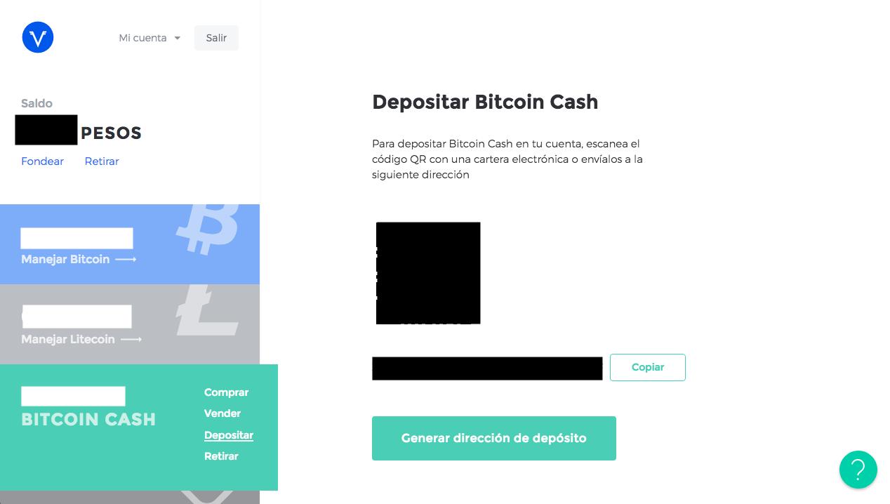 Pantalla de Depósito de Bitcoin Cash en Volabit para tutorial de compraventa de títulos de Oro con criptomonedas usando Uphold y Volabit
