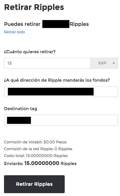 Cómo retirar XRP en Volabit para enviar a Uphold