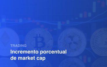 Importancia del market cap sobre el precio de una criptmoneda, imagen ilustrativa: logos de criptomonedas en fondo azul, textos: Trading, Incremento porcentual de market cap